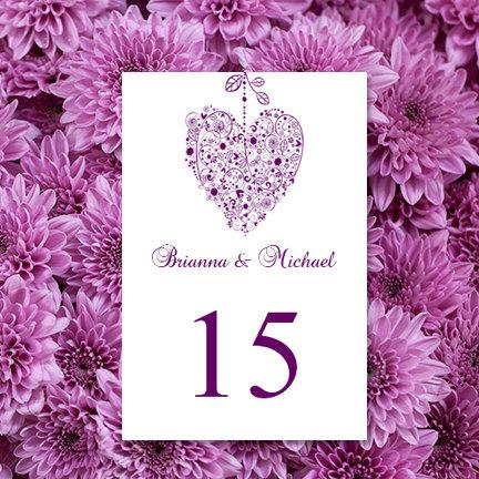 "Mariage - Printable Wedding Table Numbers ""Hearts"" Purple Text All Colors Available Editable 4"" x 6"" Word Instant Download DIY You Print"