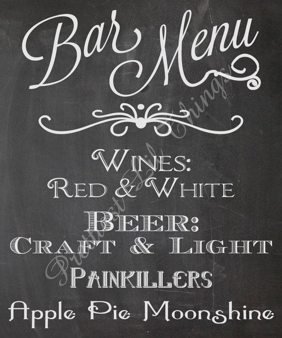 Mariage - Bar Drinks Menu Sign Beer Wine Alchohol Specials Vintage Chalkboard Wedding Invitation Birthday Party Bridal or Baby Shower Digital