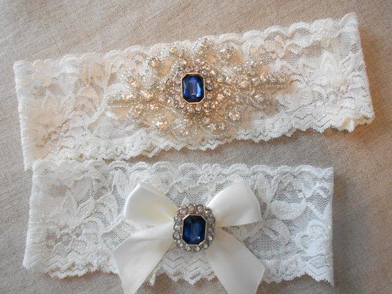 Свадьба - Wedding Garter Ivory White or Blue Stretch Lace Bridal MONOGRAM OPTION Garter Set Sapphire and Rhinestone Setting on Lingerie Lace