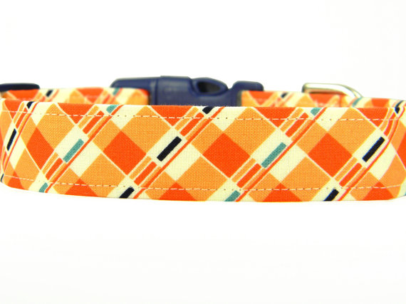 زفاف - Dog Collar, Navy Orange Dog Collar, Pet Collar: Tic Tac Plaid