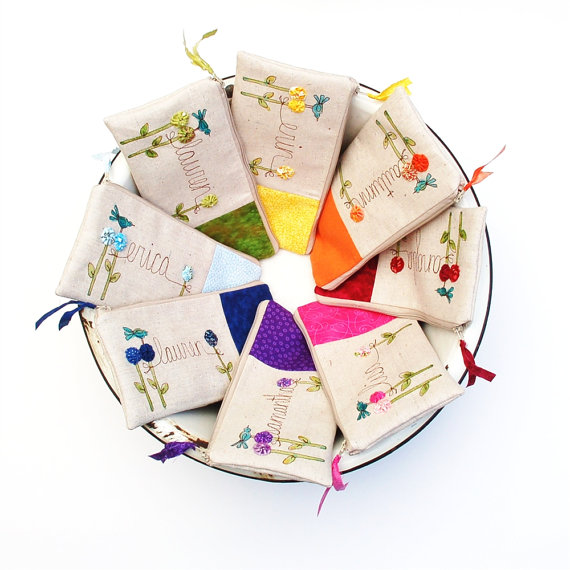 زفاف - Rainbow Wedding Personalized Bridesmaid Clutches, Set of 8 Personalized Gifts for Bridesmaids, Bridal Clutches MADE TO ORDER MamaBleuDesigns