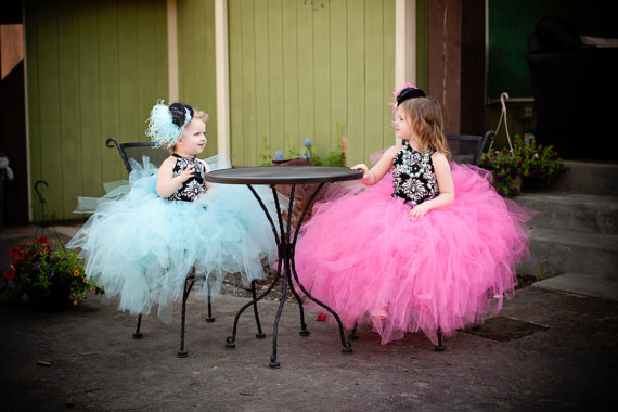 Wedding - Damask Tutu dress..Satin Bodice...Choose your own color tutu...Flower Girl Dress..Vintage Photography Prop