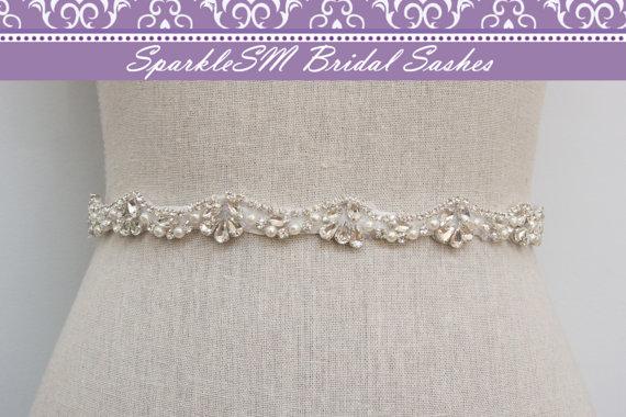 Wedding - Pearl Crystal Rhinestone Bridal Sash, Beaded Wedding Dress Belt, Bridal Dress Sash, Rhinestone Sash, Bridal Belt, SparkleSM Bridal Sashes