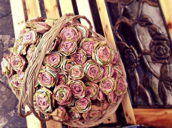 100 Vintage Roses Wedding Flower Basket Aisle Runner Decorations Dusty Pink Peach