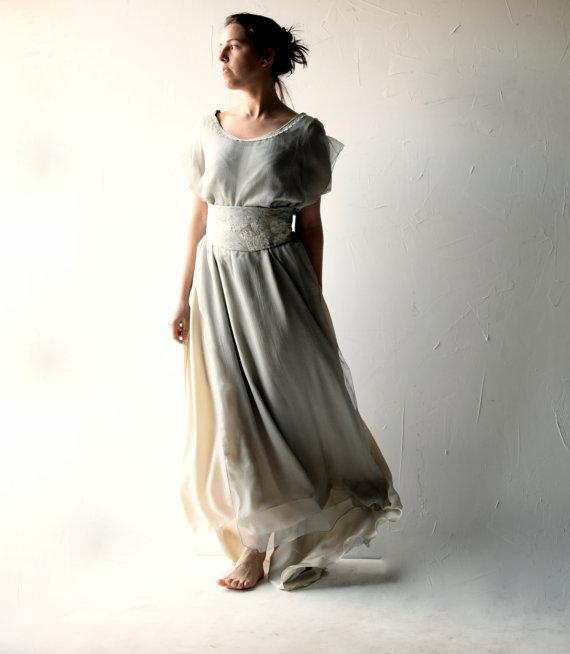 Wedding - Wedding dress, Boho wedding dress, Bohemian wedding, Hippie wedding dress, Blue Chiffon dress, Alternative wedding dress, medieval wedding