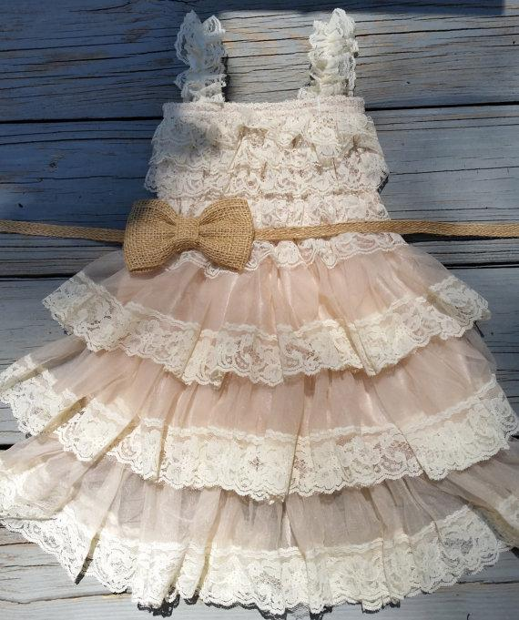 Wedding - Rustic Flower Girl Dress - Lace Pettidress-Rustic Flower Girl-Country Flower Girl-Burlap Bow-Burlap Flowergirl -Burlap-Flower Girl Dresses