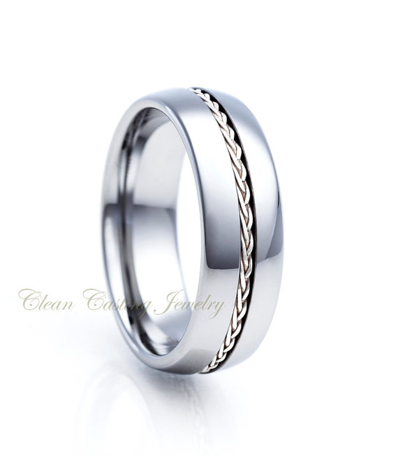 Titanium wedding bandtitanium wedding ringsilver braid for Custom made wedding bands to fit engagement ring
