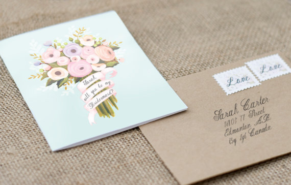 Mariage - Will you be my Bridesmaid - Custom Name Hand Painted Floral Bouquet Card with Kraft Envelope
