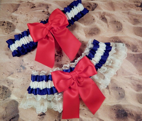 Hochzeit - Red Ivory Navy Blue Satin ivory Lace 4th of July Wedding Bridal Garter Toss Set