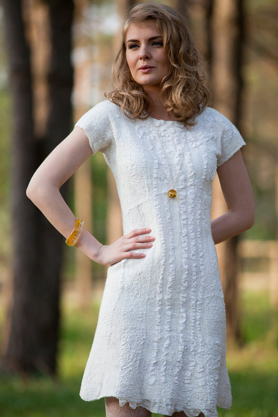 Wedding - Felted dress - Felt wedding Dress White color Merino Wool and Silk  original Handmade eco friendly comfortable Women dress ready to Send
