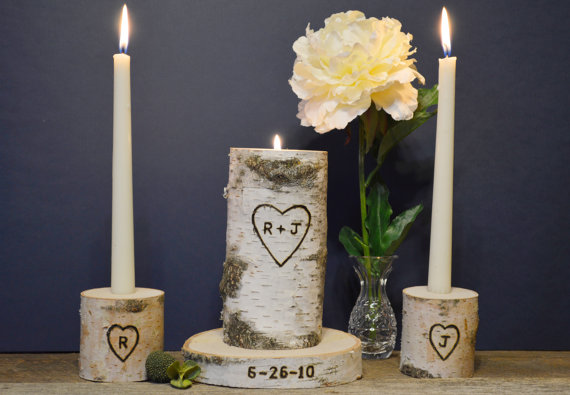 Wedding - Wedding Unity Candle, Unity Candle, Personalized Unity Candle Set with Wedding Date, Rustic Birch Unity Candle