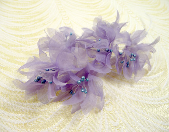 Vintage millinery flowers spray of six lavender purple organdy silk vintage millinery flowers spray of six lavender purple organdy silk nos for hats fascinators bouquets crafts mightylinksfo