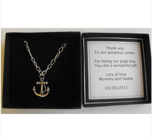 Mariage - Page boy Usher thank you Anchor necklace and personalised in gift box