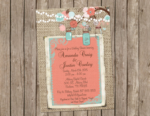Coral And Turquoise Burlap Wedding Invitation Bridal Shower