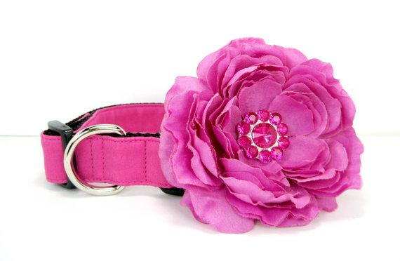 Свадьба - Wedding dog collar- Fuchsia Pink  Dog Collar with flower set  (Mini,X-Small,Small,Medium ,Large or X-Large Size)- Adjustable
