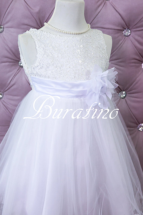 Wedding - Flower Girl Dress, communion girls dress special occasion wedding girls toddler dress (ets0155wt)