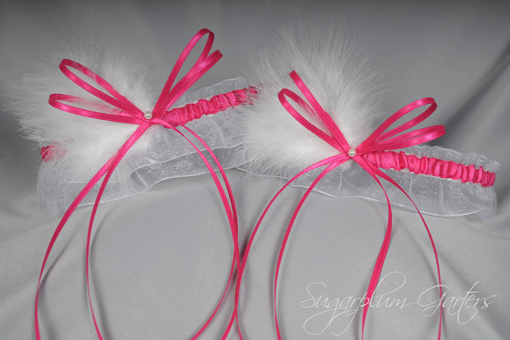 Mariage - Wedding Garter Set in Hot Pink and White with Pearls and Marabou Feathers