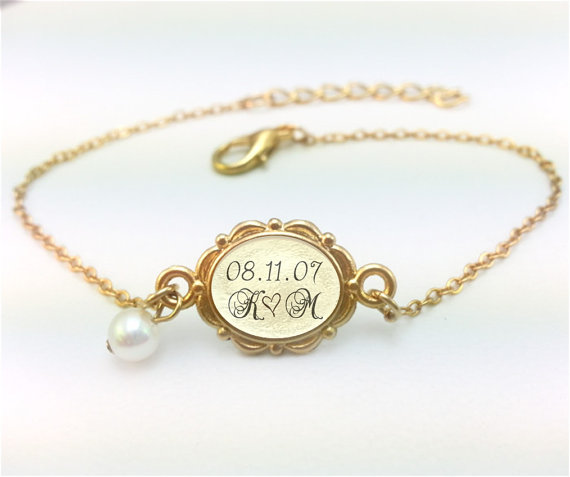 Gold Wedding Date Jewelry Wedding Date Bracelet Personalized