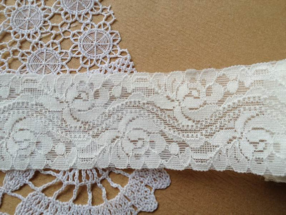 """Свадьба - 1.57"""" wide White Stretch Lace, elastic lace trim for baby headband, lingerie, 2 Yards"""