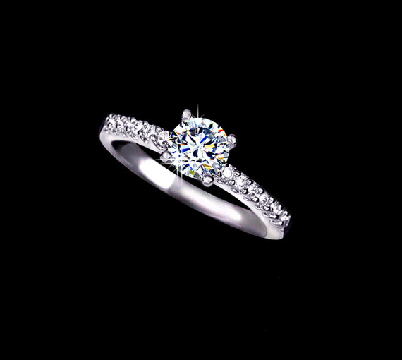 Wedding - 0.75 ct Round Cut Cubic Zirconia Engagement Ring Solitaire Ring Classic Ring Band Wedding Ring Accent Ring Gift Classic Ring, AR0031
