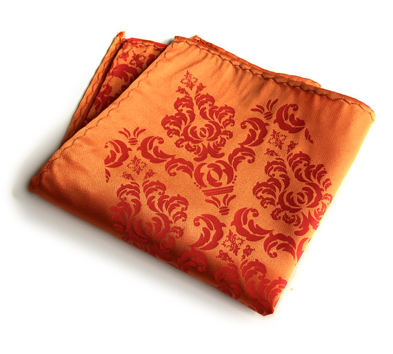 Свадьба - Orange Damask pocket square. Ornate silkscreen print. Men's pocket square. Vibrant carrot, coral orange & more. Groomsmen gift.