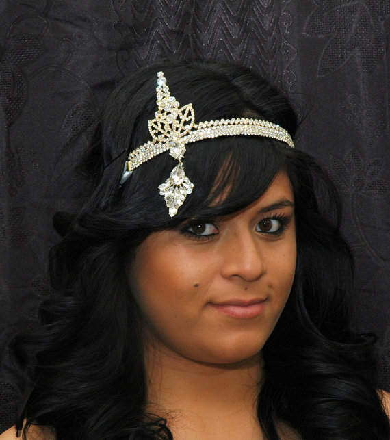 Wedding - Gatsby Headpiece, Downton Abbey 1920s Headpiece,Flapper Headband, Gold Art Deco Headband