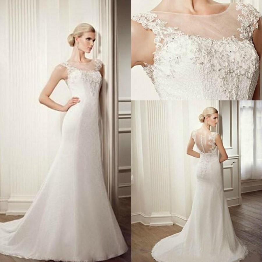 Hote Sale 2015 Mermaid Wedding Dresses Sheer Jewel Sleeveless Zipper Lace Beads Sweep Train New Glamorous Cheap Satin Gown Custom Online With