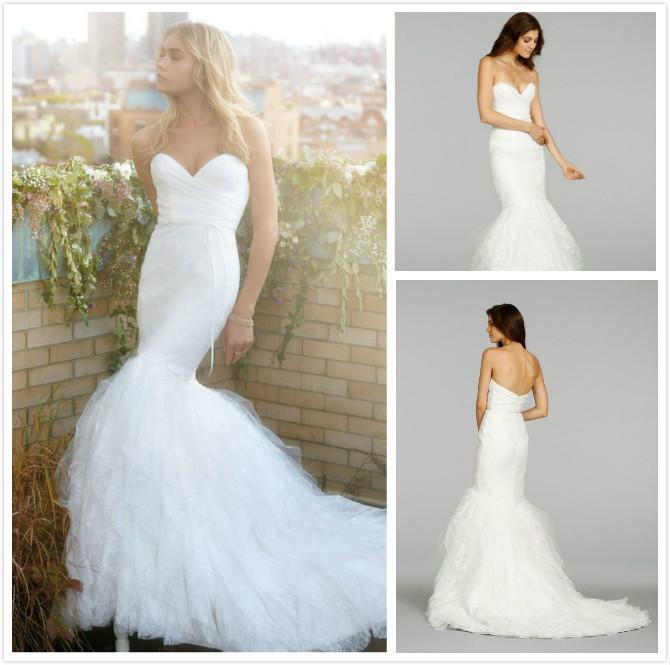 Свадьба - Charming New Lace 2015 Pleats Ruffles Wedding Dress Sleeveless Mermaid Sweetheart Vestido De Novia Bridal Gown Chapel Train High Quality Online with $114.5/Piece on Hjklp88's Store