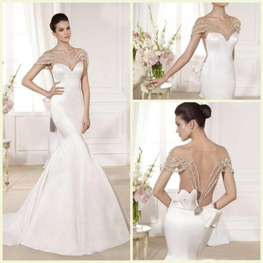 Hochzeit - 2015 Spring Wedding Dresses Mermaid V Neck Open Back Court Train Sleeveless Bridal Gown Crystal Beading Stretch Satin Backless Wedding Dress Online with $112.08/Piece on Hjklp88's Store