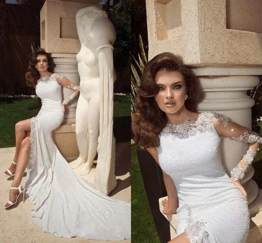 Hochzeit - 2015 Sexy Wedding Dresses With Long Sleeves Scoop Sequins Sheer Appliques Wedding Gowns High Split Chapel Train Bridal Dress Custom Made Online with $114.5/Piece on Hjklp88's Store