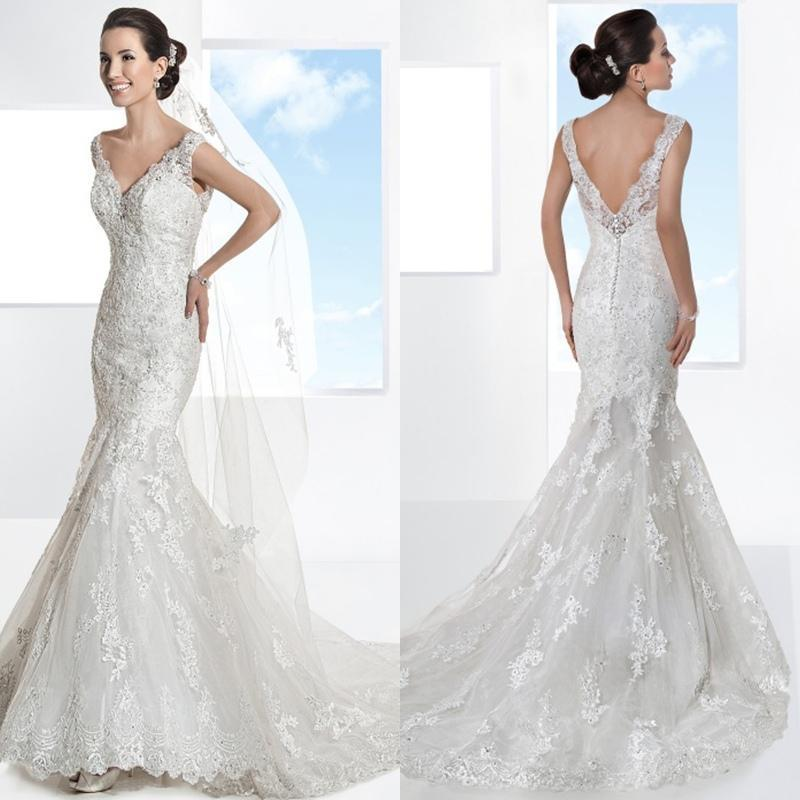 Düğün - 2015 New Mermaid V Neck Tulle Lace Applique Sexy Sheer Sleeveless Luxury Sexy Backless Cap Sleeve Wedding Dresses Chapel Train Wedding Gown Online with $116.92/Piece on Hjklp88's Store