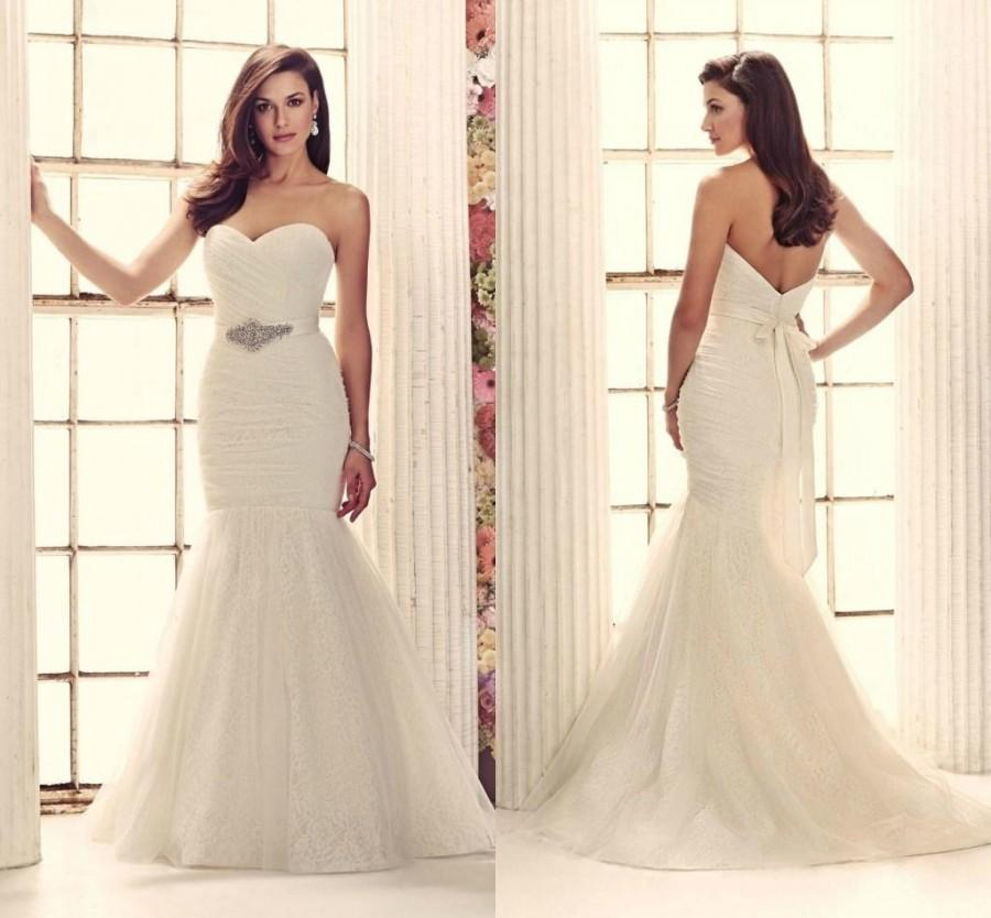 2015 cheap ivory white lace and tulle wedding dresses for Ivory wedding dress sash