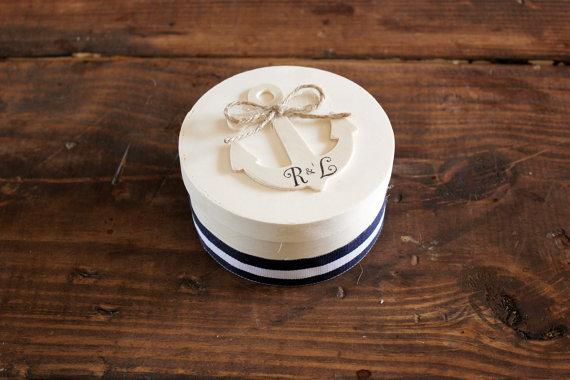 Wedding - anchor ring bearer box . nautical wedding ring bearer pillow box . round wooden anchor box