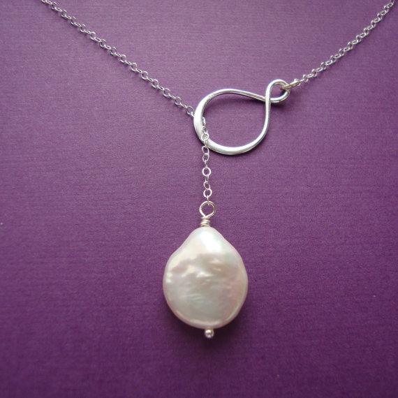 زفاف - Infinity Lariat Fresh Water Coin Pearl- sterling silver- bridal jewelry, maid of honor, bridesmaids gifts