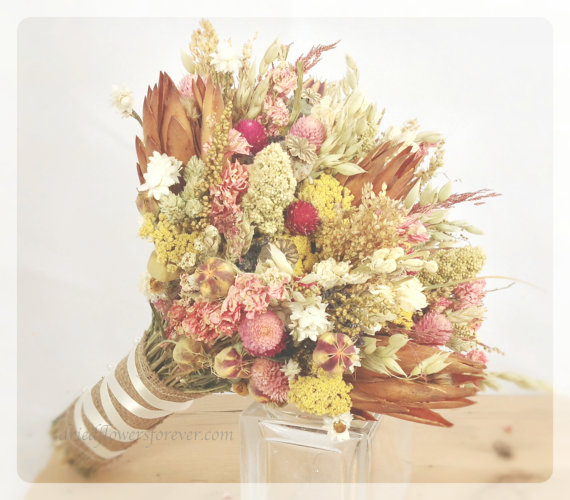 Pink Vintage Wildflower Collection Dried Flowers Bouquet Bride