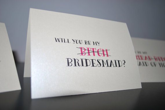 Mariage - Will You Be My Bitch Bridesmaid Invitation Card, Maid of Honor, Matron of Honor, Funny Bridal Party Unique Wedding Party Invitation Card