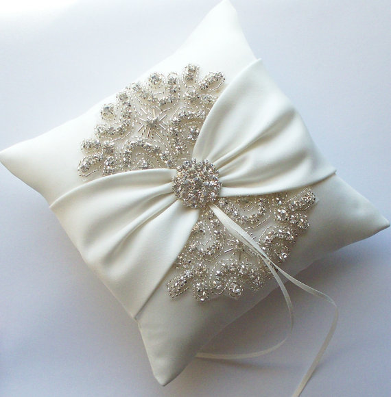 Mariage - Wedding Ring Pillow with Rhinestone Detail, Ivory Satin Sash Cinched by Crystals - The ROSA Pillow