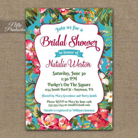 tropical bridal shower invitations printable hawaiian bridal