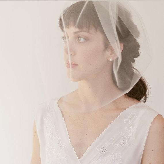 """Свадьба - Bridal birdcage veil,  blusher veil, wedding veil 16"""" full veil, Style 821"""