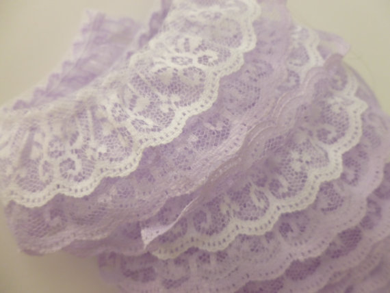 Mariage - Clearance!  Two Layer Gathered Lace In Lavender & White 2 Inch Wide 3 Yards Long