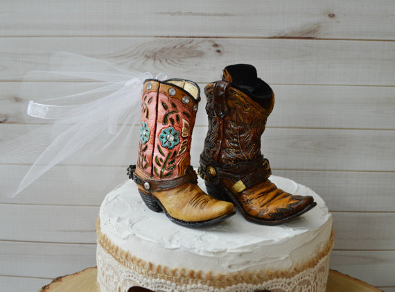 Cowboy Boot Wedding Cake Topper For Grooms Cake Western Wedding ...