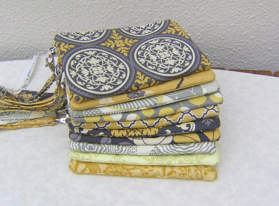 Hochzeit - 8 gray and yellow CLUTCHES, gift pouches, wedding, accessories, clutches, 2 pockets, handmade, bridesmaids, bridal,