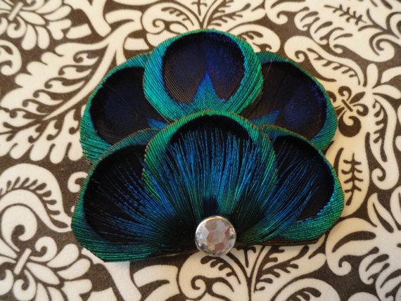 Wedding - BRANDY in Blue Peacock Feather Hair Clip