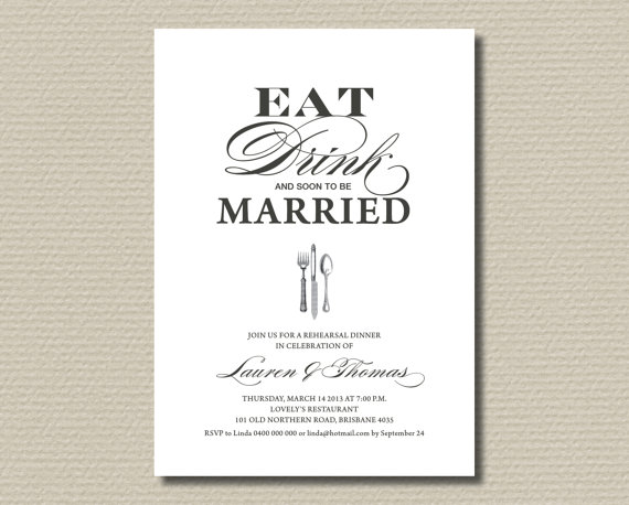 printable wedding rehearsal dinner invitation - vintage eat,drink, Wedding invitations