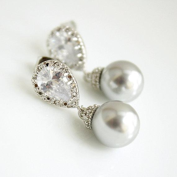 Mariage - Light Gray Pearl Bridal Earrings Pearl Jewelry Cubic Zirconia Bridesmaid Earrings Stud Posts Swarovski Pearl Drops Wedding Jewelry