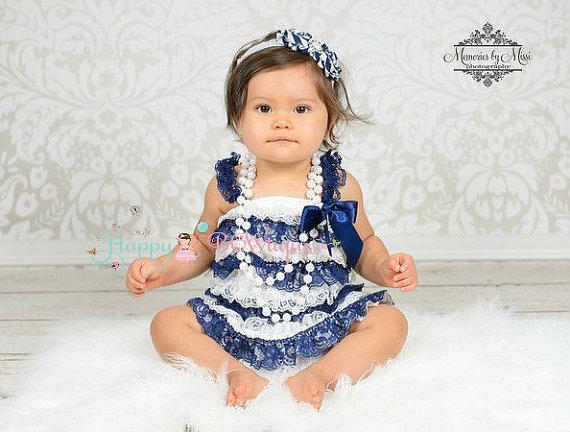 Wedding - nautical dress, baby girls dress, Navy Blue Stripes Lace Dress, ruffle dress, baby dress,Birthday outfit, flower girl dress, , Toddler dress