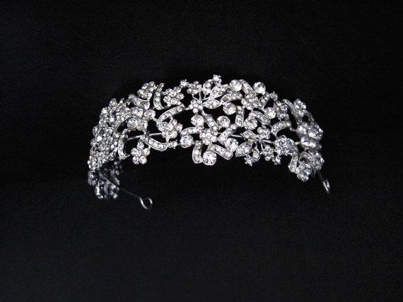 Mariage - Nature inspired floral wedding tiara, Bridal sparkling rhinestone headband, Wedding headpiece,Bridal halo