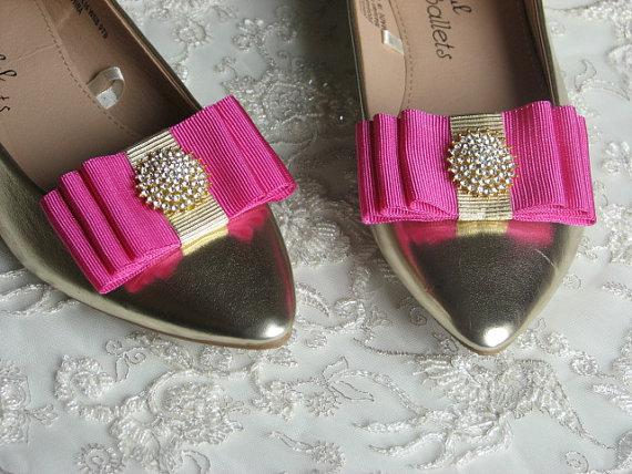 1483fa53889c Hot pink shoe clips Bridal shoe clips Rhinestones shoes clips Gold  rhinestones Gold shoe clips Fuchsia shoe clips Hot pink bows Fuchsia Gold