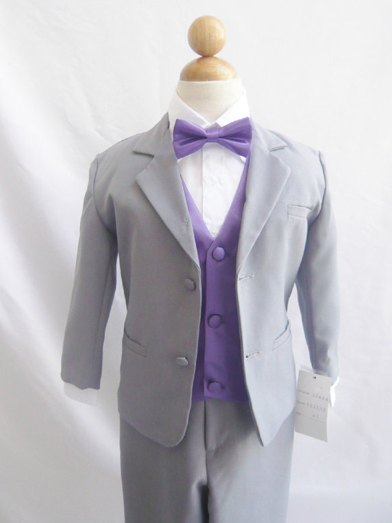 ae76ba6fc7f5 Formal Boy Suit Gray With Purple Eggplant Vest For Toddler Baby Ring ...