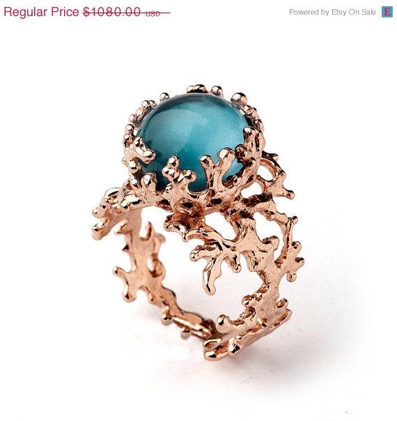 Wedding - SALE 20% Off - CORAL London Blue Topaz Ring, Rose Gold Blue Topaz Ring, Blue Topaz Engagement Ring, Rose Gold Engagement Ring, Organic Gold
